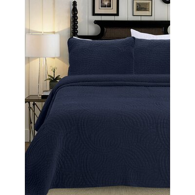 Quilt Set Color: Indigo Blue, Size: Full/Queen