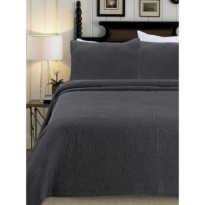 Quilt Set Size: King, Color: Charcoal