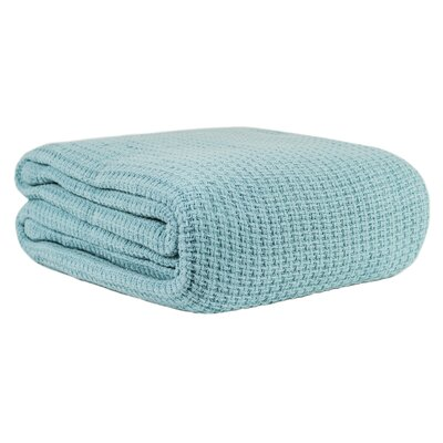 Cotton Woven Blanket Size: Full/Queen, Color: Aqua Sky