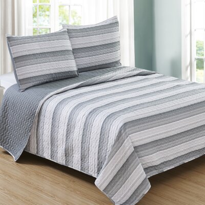 Ron Cherskin Reversible Quilt Set Size: Full/Queen, Color: Gray