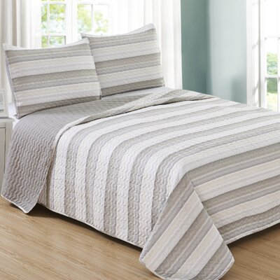Ron Cherskin Reversible Quilt Set Size: King, Color: Taupe