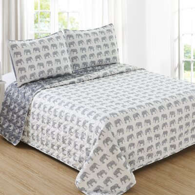 Bethesda Reversible Quilt Set Size: Full/Queen, Color: Gray/White