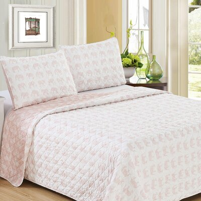 Bethesda Reversible Quilt Set Size: Twin/Twin XL, Color: Pink/White