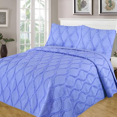 Kameron Reversible Quilt Set Size: Twin/Twin XL, Color: Light Blue