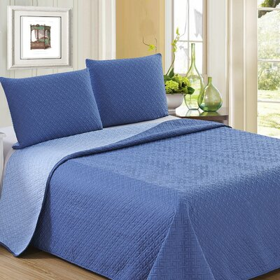 Ron Chereskin Reversible Quilt Set Size: Full/Queen, Color: Dark Blue/Light Blue