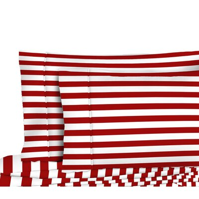 400 Thread Count 100% Cotton Bold Stripe Pillowcase Color: Red