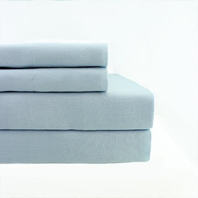 Nahyun Linen Sheet Set Size: King, Color: Light Grey Blue