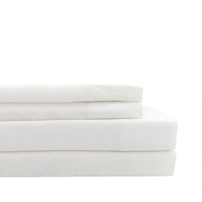 Nahyun Linen Sheet Set Size: Full, Color: White