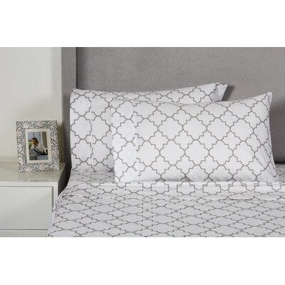 Lattice 400 Thread Count 100% Cotton Sheet Set Color: Grey, Size: Full