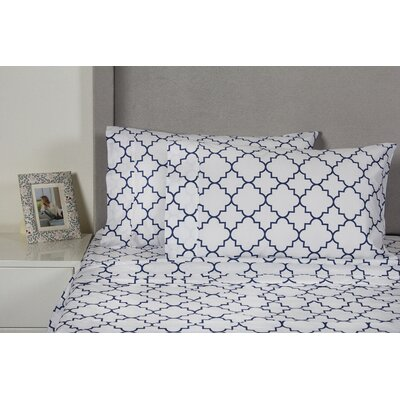 Lattice 400 Thread Count 100% Cotton Sheet Set Size: Queen, Color: Navy