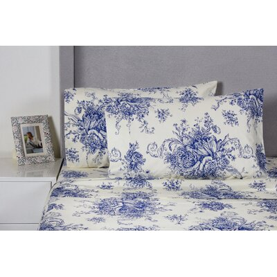 Toile 400 Thread Count 100% Cotton Sheet Set Size: California King, Color: Navy