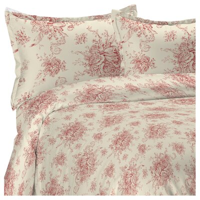 Toile Reversible Duvet Cover Set Color: Red, Size: King
