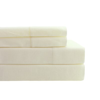Hemstitch Sheet Set Color: Ivory, Size: California King