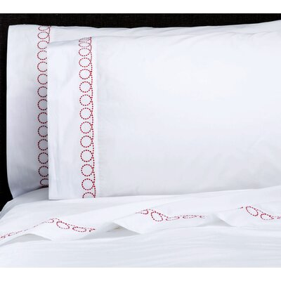 Loops Percale Embroidered Pillowcase Color: Real Red