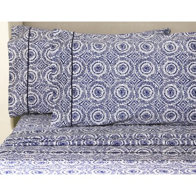Casarez 400 Thread Count 100% Cotton Sheet Set Size: Twin, Color: Navy