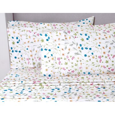 Chapa Wildflower 400 Thread Count 100% Cotton Sheet Set Size: Queen