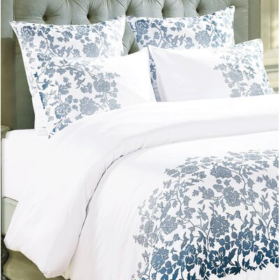 Kirkbride Rose Embroidered Sham Color: Blue