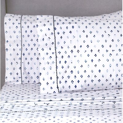 Digennaro Broken Diamond 400 Thread Count Pillowcase Color: Blue