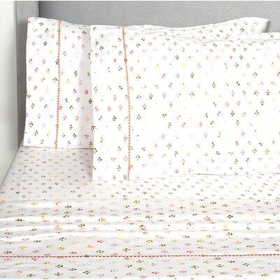 Digennaro Broken Diamond 400 Thread Count Pillowcase Color: Orange/Red/Gray