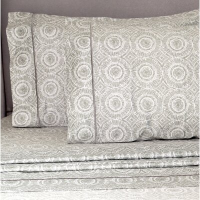Palacios Block Medalion 400 Thread Count Pillowcase Color: Light Gray