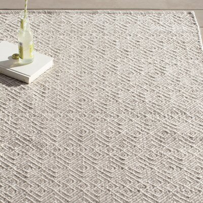 Annabelle Hand-Woven Grey/Ivory Indoor/Outdoor Area Rug Rug Size: Rectangle 5 x 8