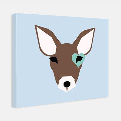 "Little Crown Interiors ""Biscuit"" Modern Deer Nursery Canvas Art - Color: Light Blue and Aqua at Sears.com"