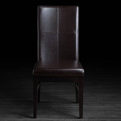 Nona Genuine Leather Upholstered Dining Chair Upholstery: Brown