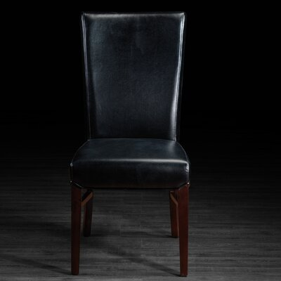 Bella Genuine Leather Upholstered Dining Chair Upholstery: Black