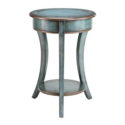 Painted Treasures Curved Legs Round Accent Table Color: Bronze / Turquoise