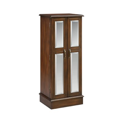Backsten Jewelry Armoire with Mirror Finish: Chestnut/Wood-Tone