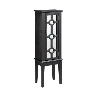 Mayer Free Standing Jewelry Armoire with Mirror Color: Black