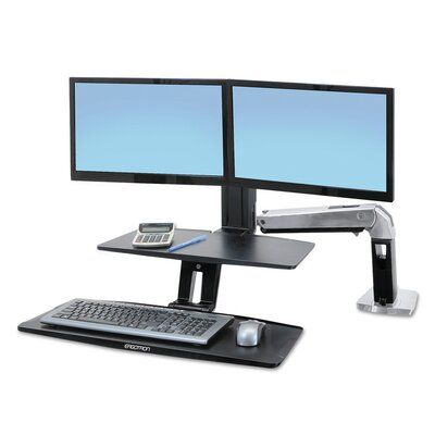 WorkFit-A Sit-Stand Height Adjustable 2 Screen Workstation/Cart