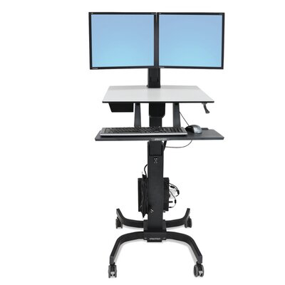 WorkFit-C Sit-Stand Height Adjustable 2 Screen Workstation/Cart
