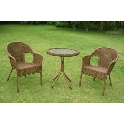 Chelsea 3 Piece Wicker Resin Steel Patio Bistro Set Finish: Mocha