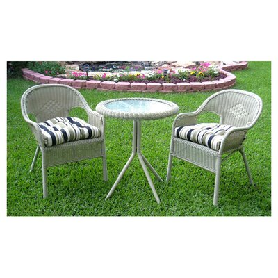 Chelsea 3 Piece Wicker Resin Steel Patio Bistro Set Finish: White