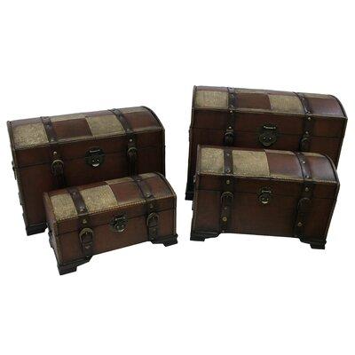 International Caravan Seville Faux Leather Indoor Storage Trunks (Set of 4) - Color: Mix Pattern at Sears.com