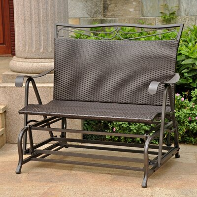International Caravan Valencia Wicker Resin Steel Frame Double Patio Glider Chair - Finish: Chocolate at Sears.com