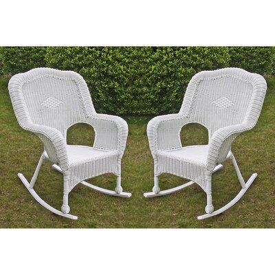 International Caravan Chelsea Wicker Resin Outdoor Rocking Chair (Set of 2) - Finish: White at Sears.com