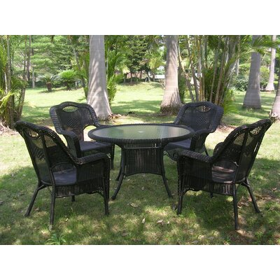 Monaco 5 Piece Patio Dining Set Finish: Antique Black