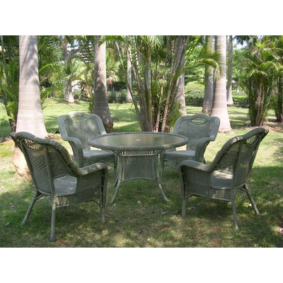Monaco 5 Piece Patio Dining Set Finish: Antique Moss