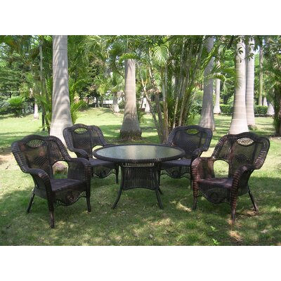 Monaco 5 Piece Patio Dining Set Finish: Antique Pecan