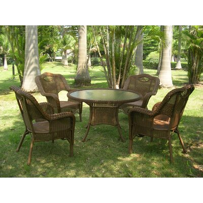 Monaco 5 Piece Patio Dining Set Finish: Mocha