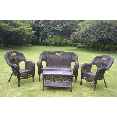 Maui 4 Piece Lounge Seating Group Finish: Antique Black