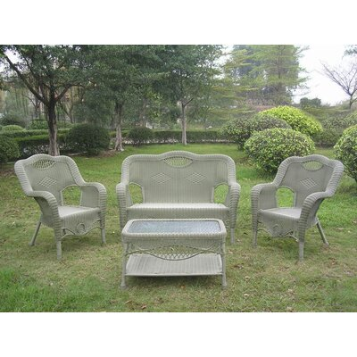 Maui Wicker Resin Aluminum 4 Piece Lounge Seating Group Finish: Antique Moss