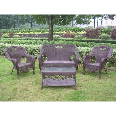 Maui 4 Piece Lounge Seating Group Finish: Antique Pecan