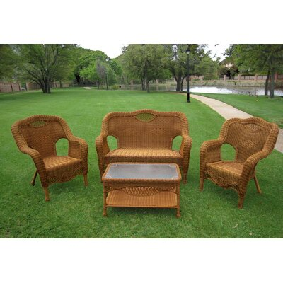 Maui 4 Piece Lounge Seating Group Finish: Mocha