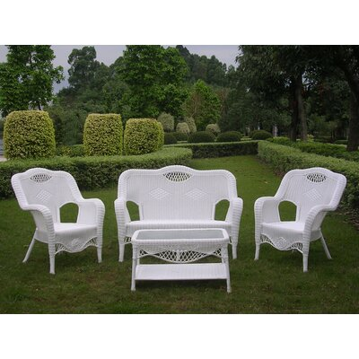 Maui 4 Piece Lounge Seating Group Finish: White