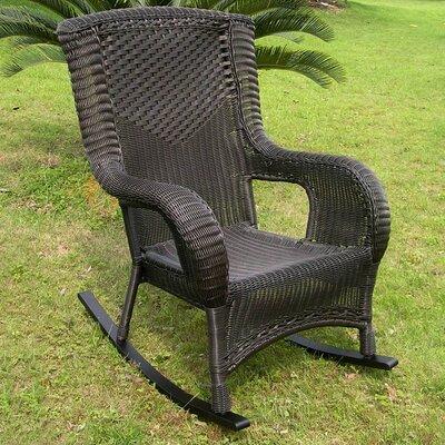 International Caravan San Tropez Wicker Resin Aluminum High Back Patio Rocking Chair - Finish: Antique Black at Sears.com