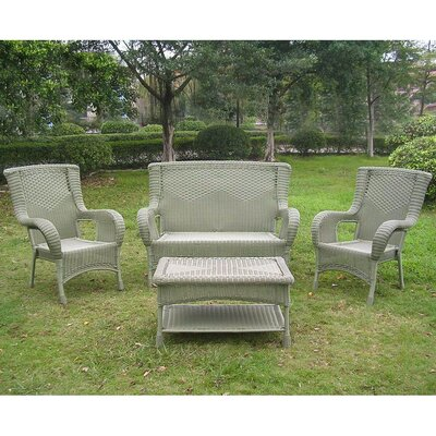 San Tropez 4 Piece Lounge Seating Group Finish: Antique Moss
