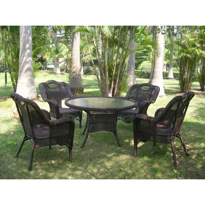 Outdoor Wicker 5 Piece Patio Dining Set Finish: Antique Pecan